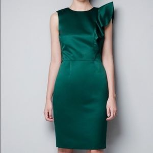 Zara Basic Green Ruffle Fitted Sheath Party Dress